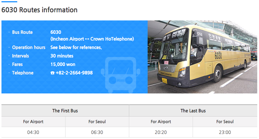 2019 Incheon Airport Bus Stops Time Table Bus Schedule