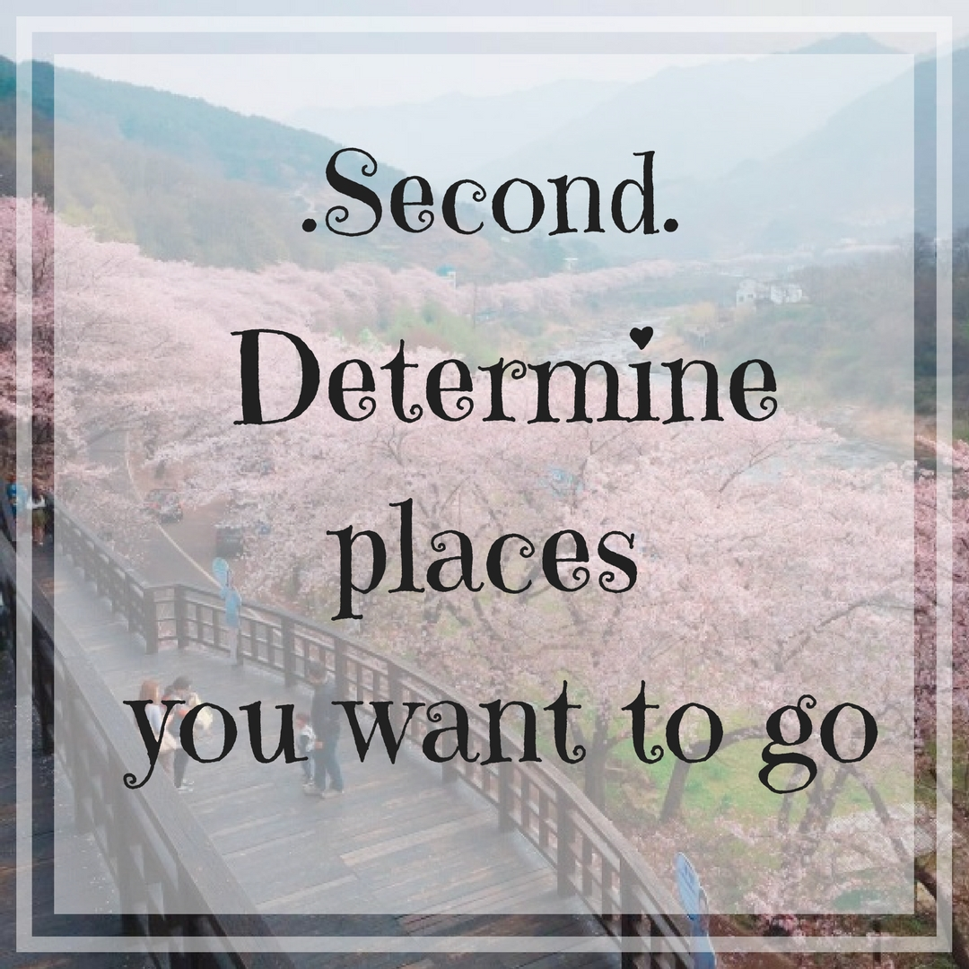 Determine places you want to go