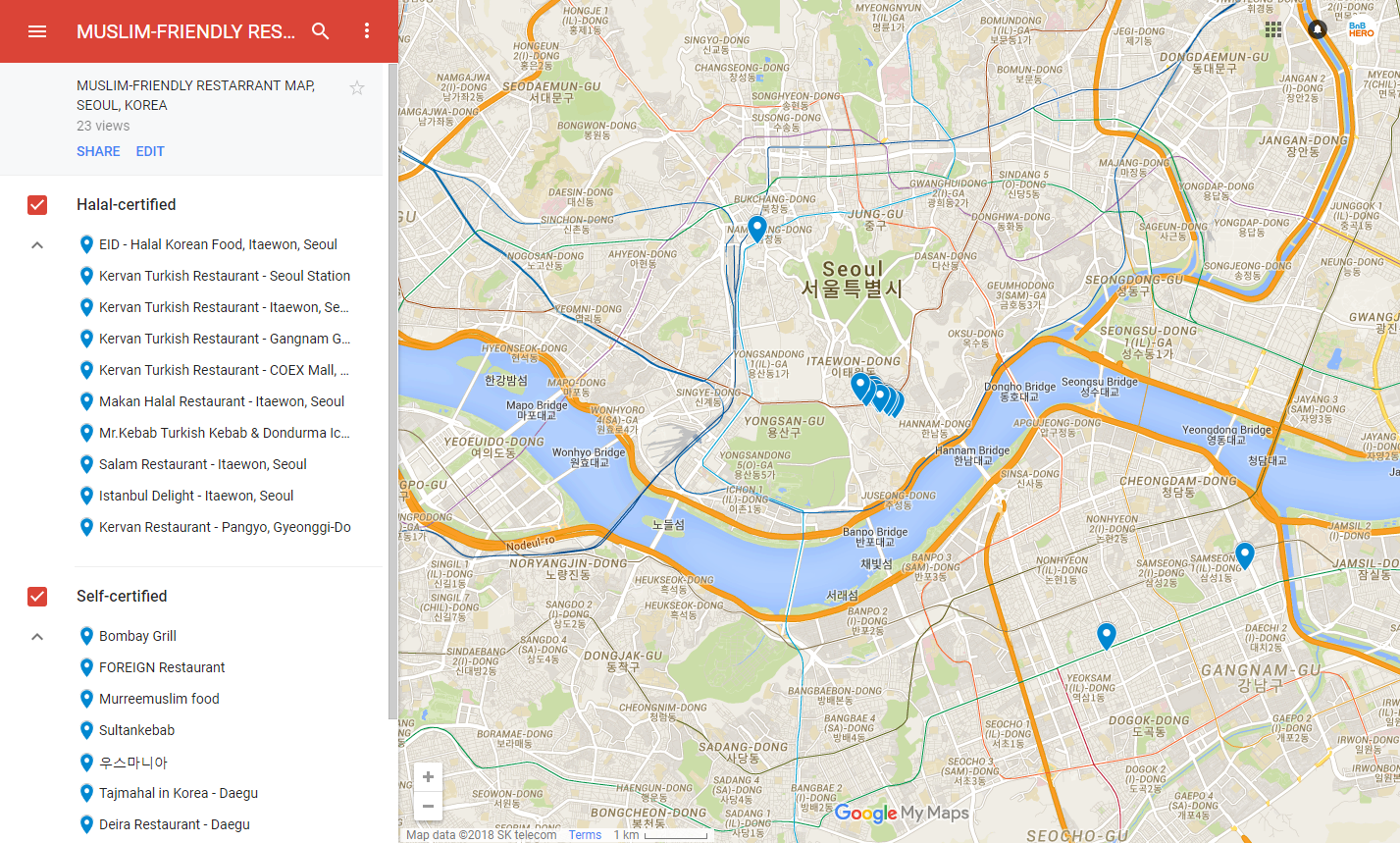 MUSLIM-FRIENDLY RESTAURANT MAP , KOREA - Travel Real Korea on google maps seoul korea, tripadvisor seoul, google map korea english, google map south korea,